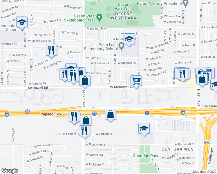 map of restaurants, bars, coffee shops, grocery stores, and more near 1613 N 65th Dr in Phoenix