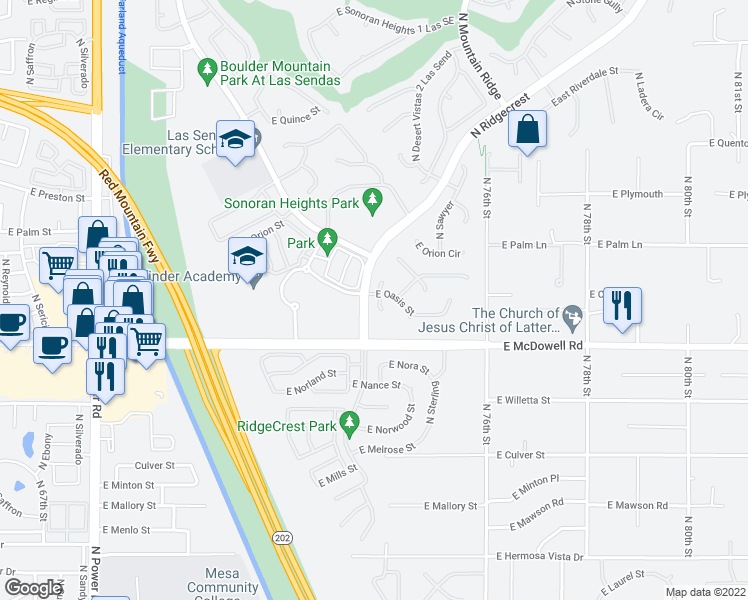 map of restaurants, bars, coffee shops, grocery stores, and more near 7405 E Oasis St in Mesa