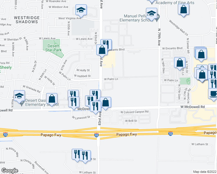 map of restaurants, bars, coffee shops, grocery stores, and more near 1801 North 83rd Avenue in Phoenix