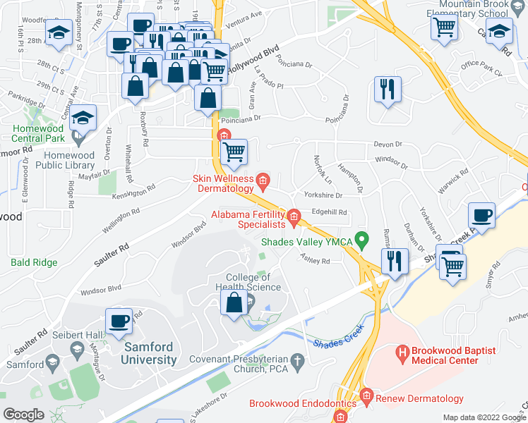 map of restaurants, bars, coffee shops, grocery stores, and more near 3441 Manor Drive in Homewood