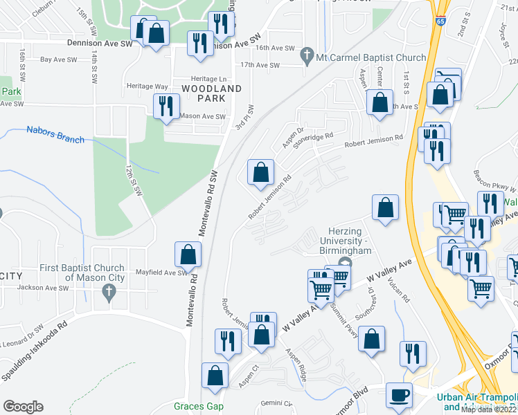 map of restaurants, bars, coffee shops, grocery stores, and more near 100-112 Walter Davis Drive in Birmingham