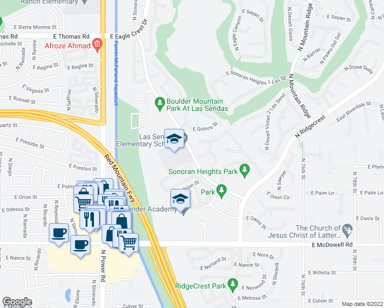 map of restaurants, bars, coffee shops, grocery stores, and more near 3204-3228 North Red Mountain in Mesa
