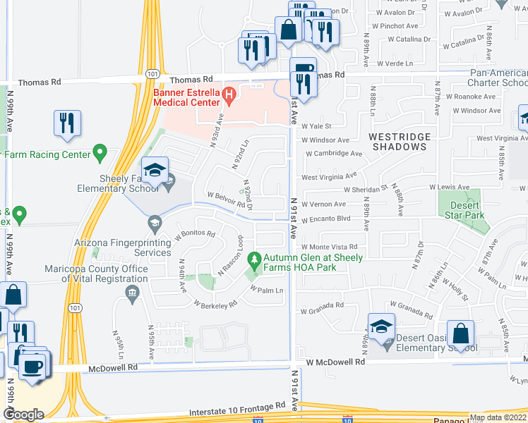 map of restaurants, bars, coffee shops, grocery stores, and more near 9137 West Vernon Avenue in Phoenix