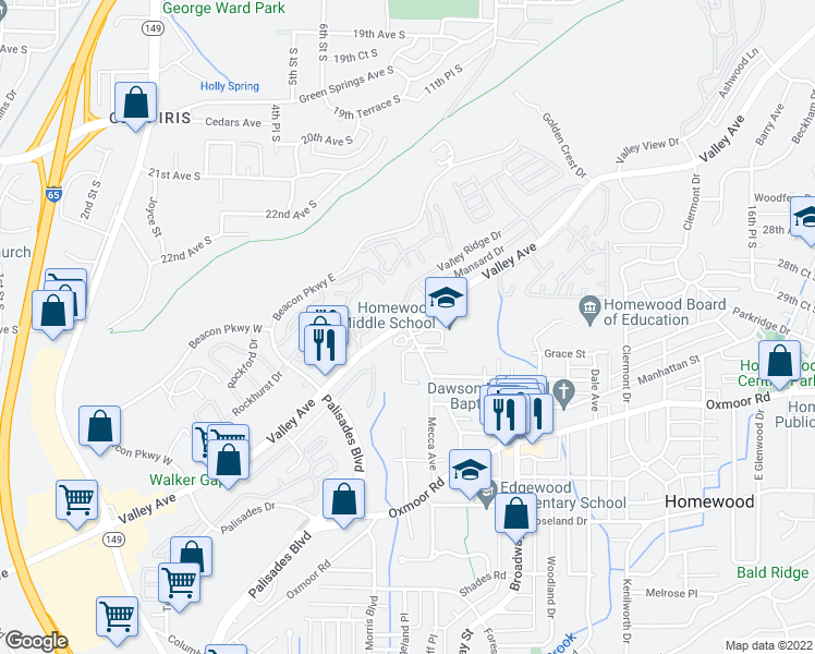 map of restaurants, bars, coffee shops, grocery stores, and more near 380-388 Mecca Avenue in Homewood