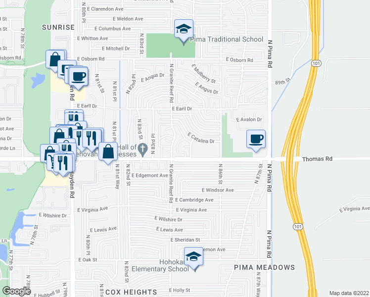 map of restaurants, bars, coffee shops, grocery stores, and more near 8417 East Verde Lane in Scottsdale