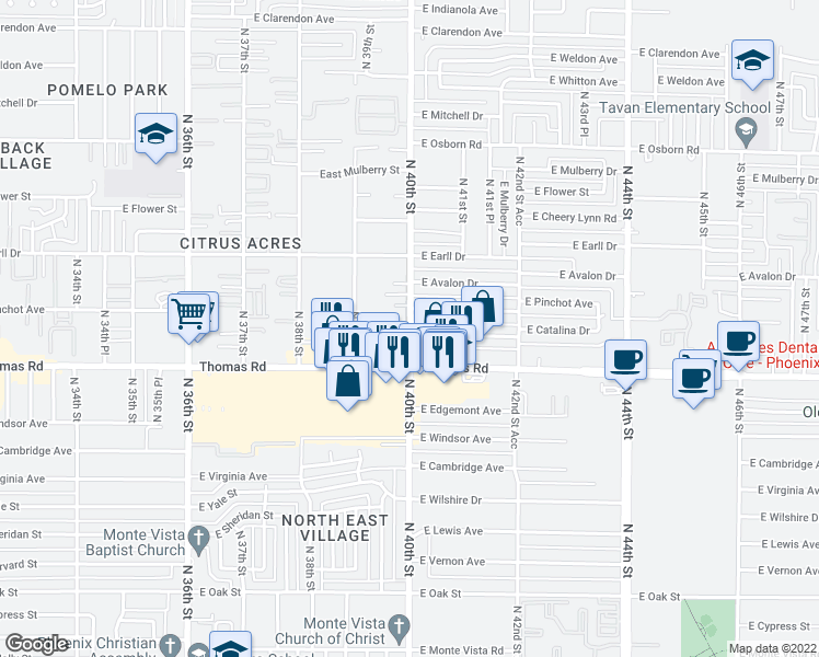 map of restaurants, bars, coffee shops, grocery stores, and more near 2940 North 40th Street in Phoenix