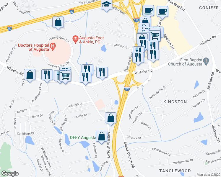 map of restaurants, bars, coffee shops, grocery stores, and more near 1237-1277 George C Wilson Drive in Augusta