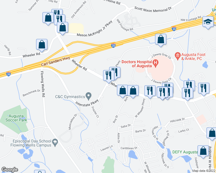 map of restaurants, bars, coffee shops, grocery stores, and more near 1150 Interstate Parkway in Augusta