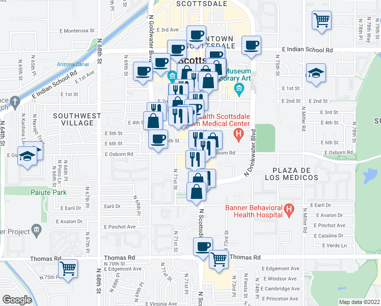map of restaurants, bars, coffee shops, grocery stores, and more near E Osborn Rd & E 6th St in Scottsdale