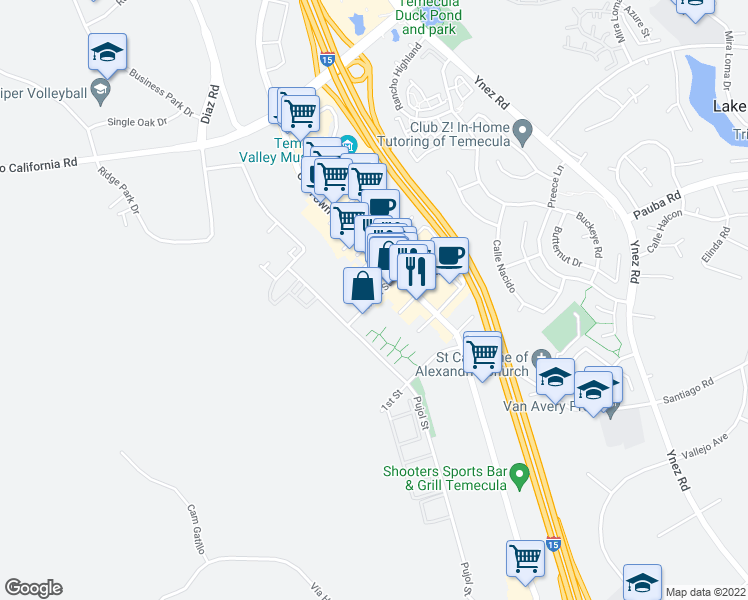map of restaurants, bars, coffee shops, grocery stores, and more near 42200 Main St in Temecula