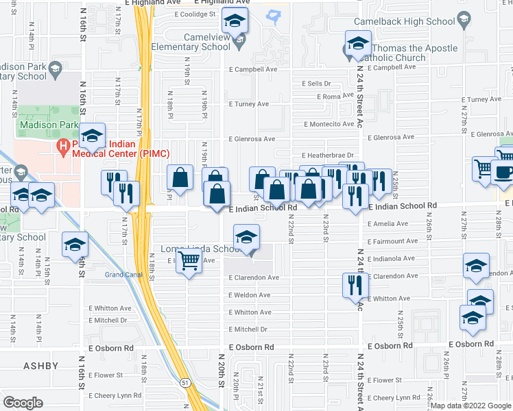 map of restaurants, bars, coffee shops, grocery stores, and more near 2100 East Indian School Road in Phoenix