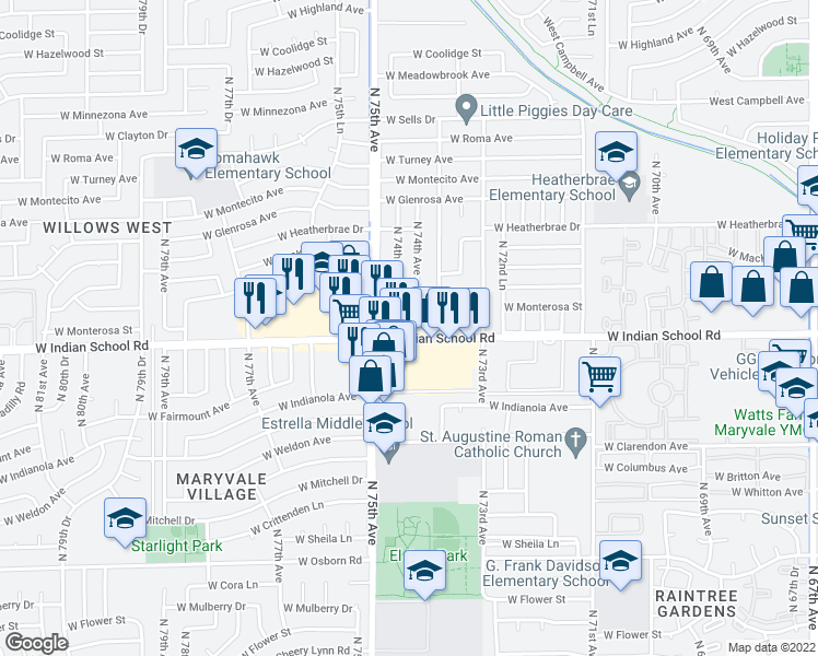 map of restaurants, bars, coffee shops, grocery stores, and more near 7434 West Indian School Road in Phoenix