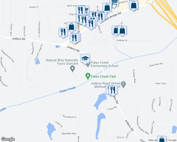 map of restaurants, bars, coffee shops, grocery stores, and more near 1309 Jodeco Road in Stockbridge