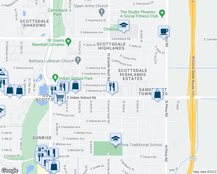 map of restaurants, bars, coffee shops, grocery stores, and more near 4183-4187 North Granite Reef Road in Scottsdale