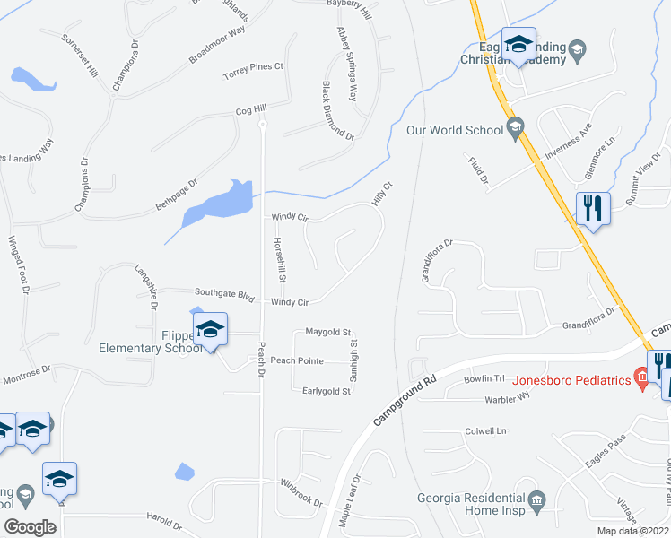 map of restaurants, bars, coffee shops, grocery stores, and more near 179 Windy Cir in McDonough