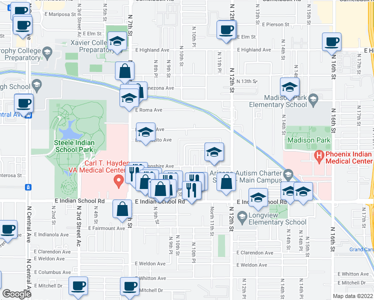 map of restaurants, bars, coffee shops, grocery stores, and more near 4305 N 10th St in Phoenix