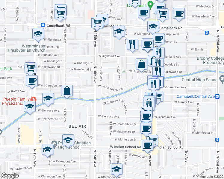 map of restaurants, bars, coffee shops, grocery stores, and more near W Campbell Ave & W Sells Dr in Phoenix