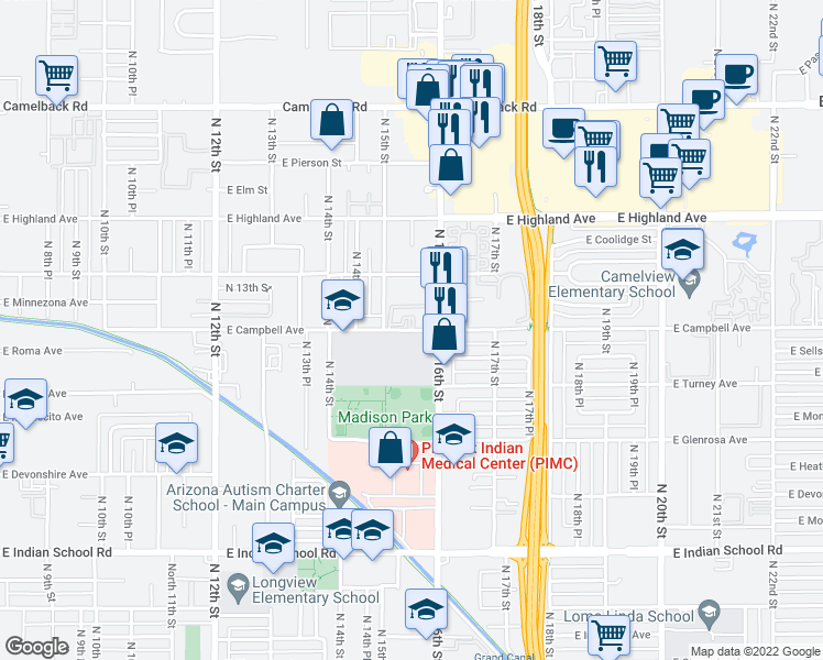 map of restaurants, bars, coffee shops, grocery stores, and more near 1550 East Campbell Avenue in Phoenix