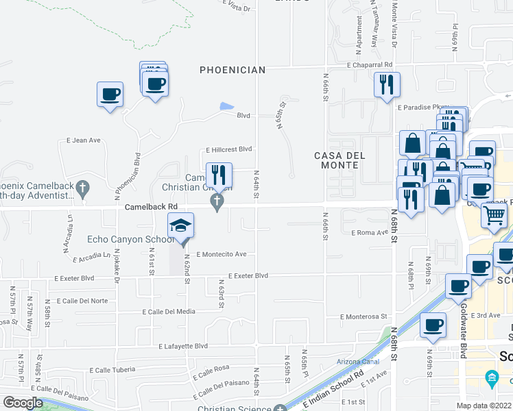 map of restaurants, bars, coffee shops, grocery stores, and more near E Camelback Rd & N 64th St in Scottsdale