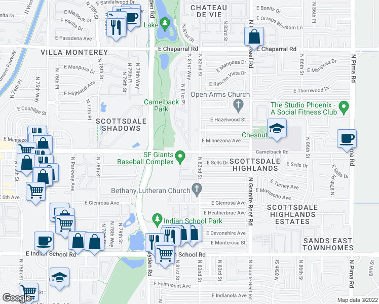 map of restaurants, bars, coffee shops, grocery stores, and more near 8102 East Camelback Road in Scottsdale