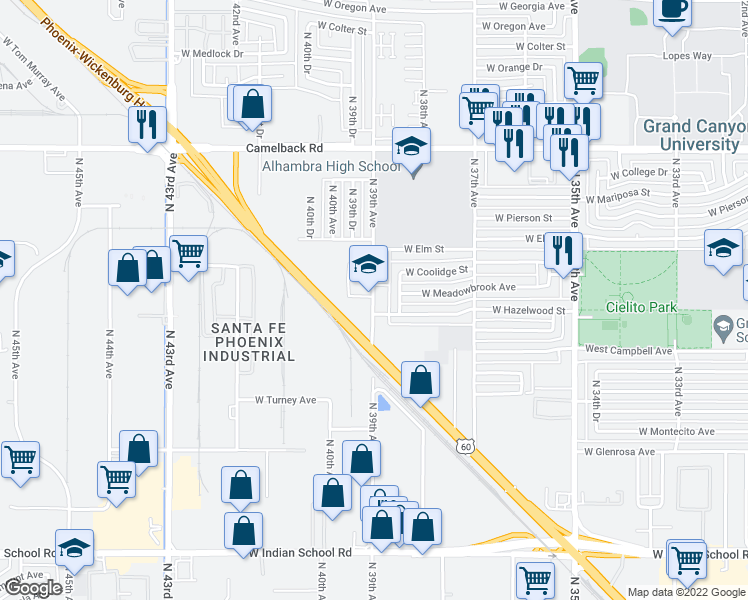map of restaurants, bars, coffee shops, grocery stores, and more near 4626 North 39th Avenue in Phoenix