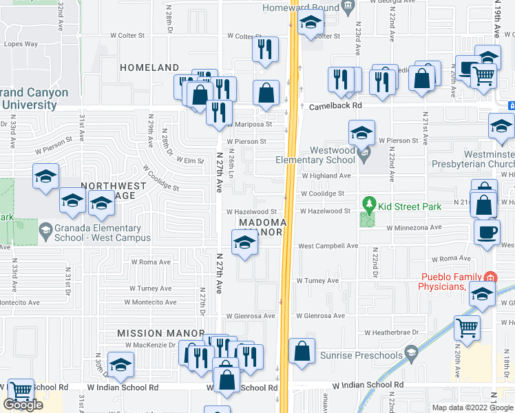 map of restaurants, bars, coffee shops, grocery stores, and more near 2550 West Hazelwood Street in Phoenix