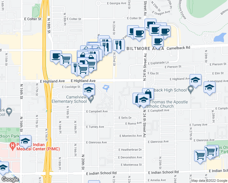 map of restaurants, bars, coffee shops, grocery stores, and more near W 21st St in Phoenix
