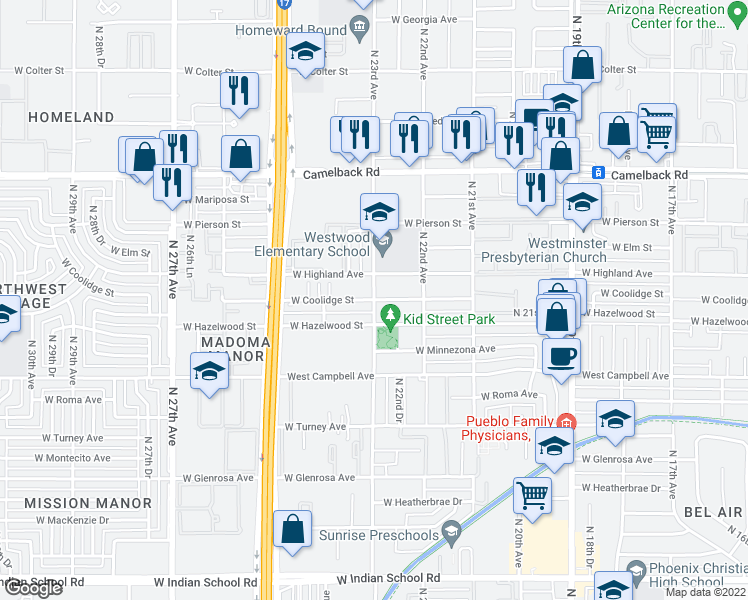 map of restaurants, bars, coffee shops, grocery stores, and more near N 23rd Ave & W Coolidge St in Phoenix