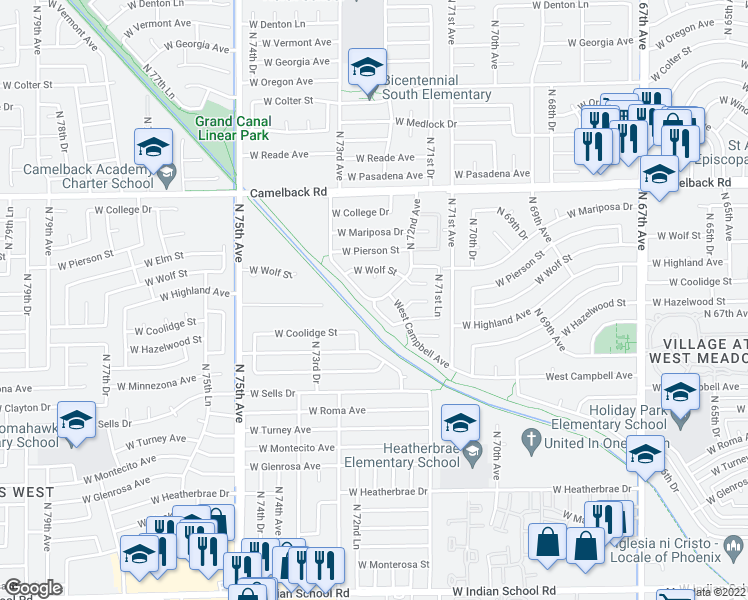 map of restaurants, bars, coffee shops, grocery stores, and more near West Highland Avenue in Phoenix