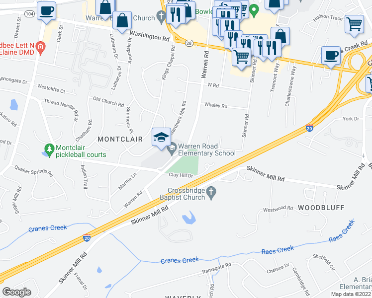 map of restaurants, bars, coffee shops, grocery stores, and more near 218 Warren Road in Augusta