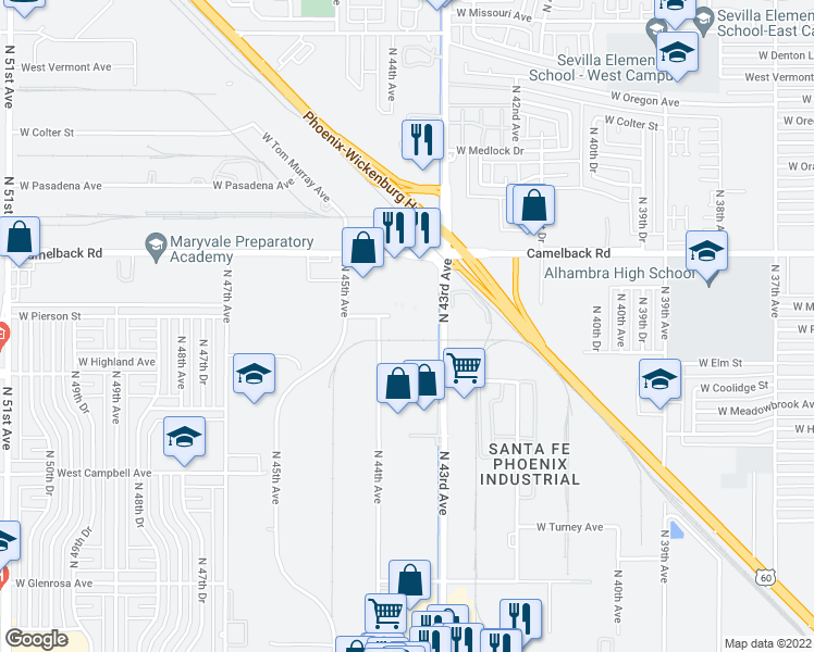 map of restaurants, bars, coffee shops, grocery stores, and more near 30 in Phoenix