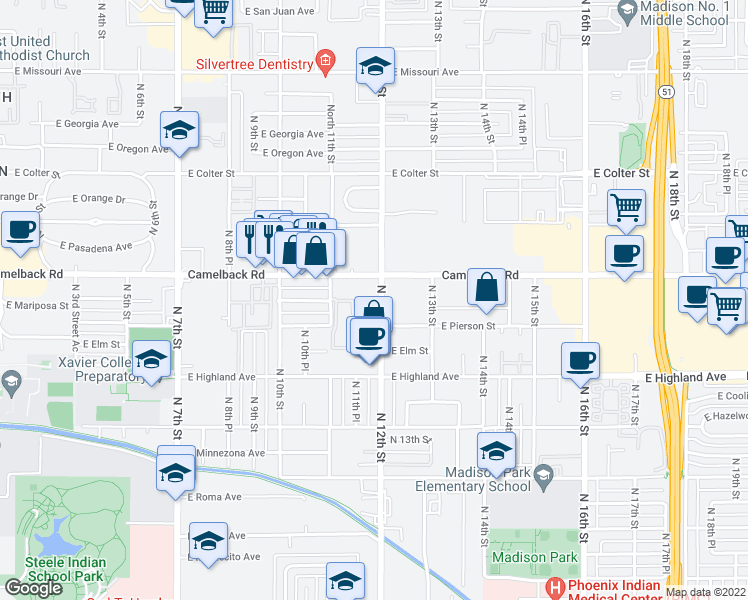 map of restaurants, bars, coffee shops, grocery stores, and more near 4994 North 12th Street in Phoenix