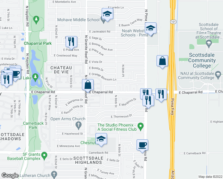 map of restaurants, bars, coffee shops, grocery stores, and more near 8526 East Chaparral Road in Scottsdale