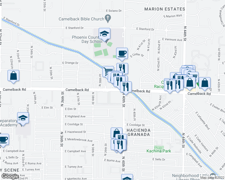 map of restaurants, bars, coffee shops, grocery stores, and more near 3854-3886 East Camelback Road in Phoenix