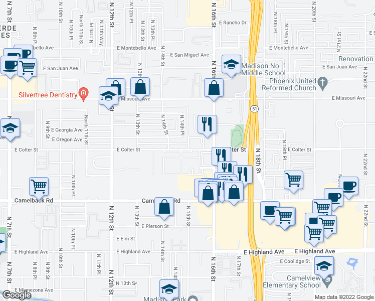 map of restaurants, bars, coffee shops, grocery stores, and more near 1428 East Colter Street in Phoenix