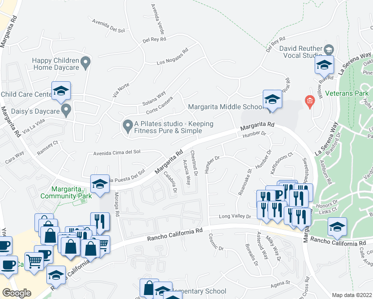 map of restaurants, bars, coffee shops, grocery stores, and more near 42044-42058 Margarita Road in Temecula