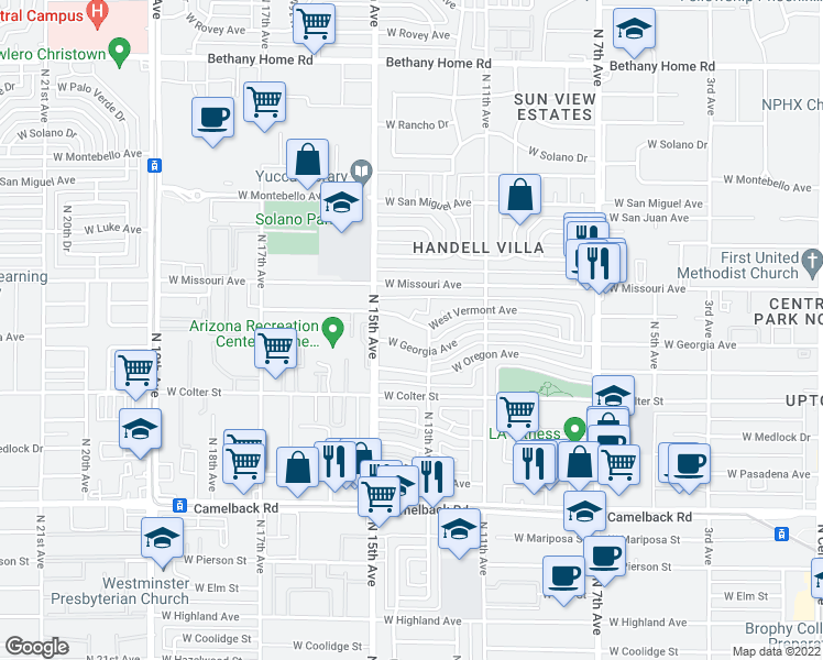 map of restaurants, bars, coffee shops, grocery stores, and more near 1311 West Vermont Avenue in Phoenix