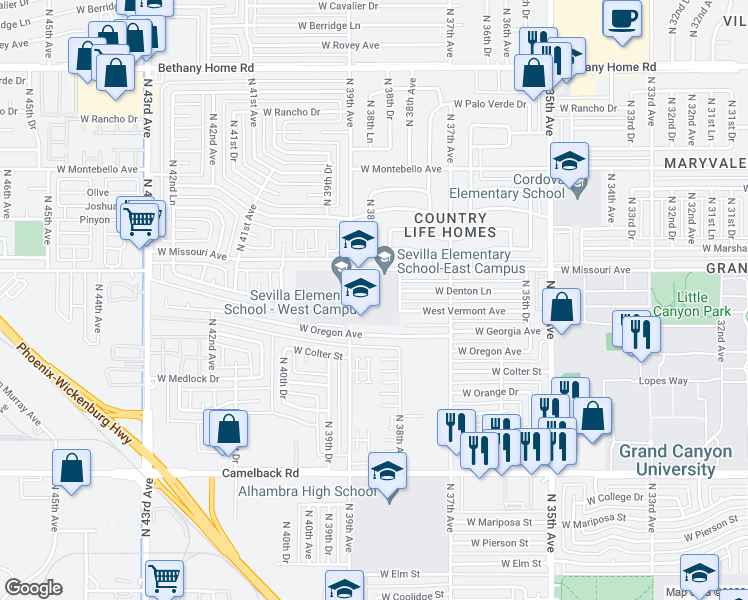 map of restaurants, bars, coffee shops, grocery stores, and more near 3801 W Missouri Ave in Phoenix