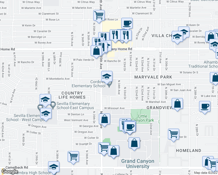 map of restaurants, bars, coffee shops, grocery stores, and more near 5620 North 34th Avenue in Phoenix