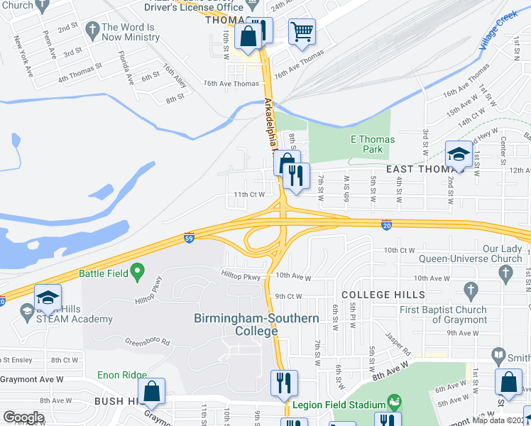 map of restaurants, bars, coffee shops, grocery stores, and more near 905 11th Ct W in Birmingham