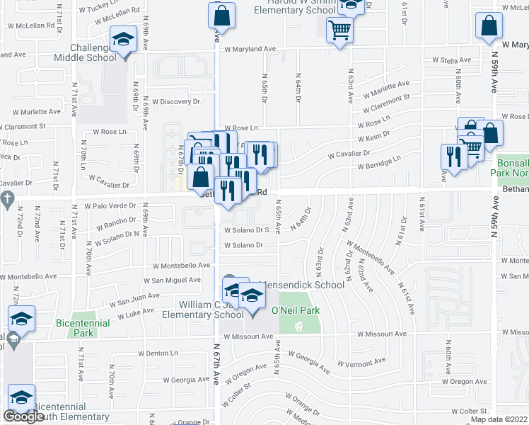 map of restaurants, bars, coffee shops, grocery stores, and more near 6500-6514 West Bethany Home Road in Glendale