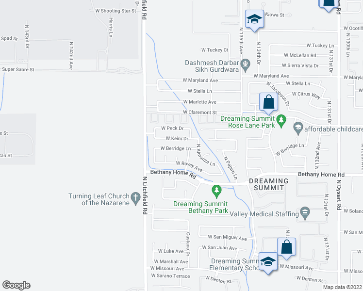 map of restaurants, bars, coffee shops, grocery stores, and more near 13726 West Berridge Lane in Litchfield Park
