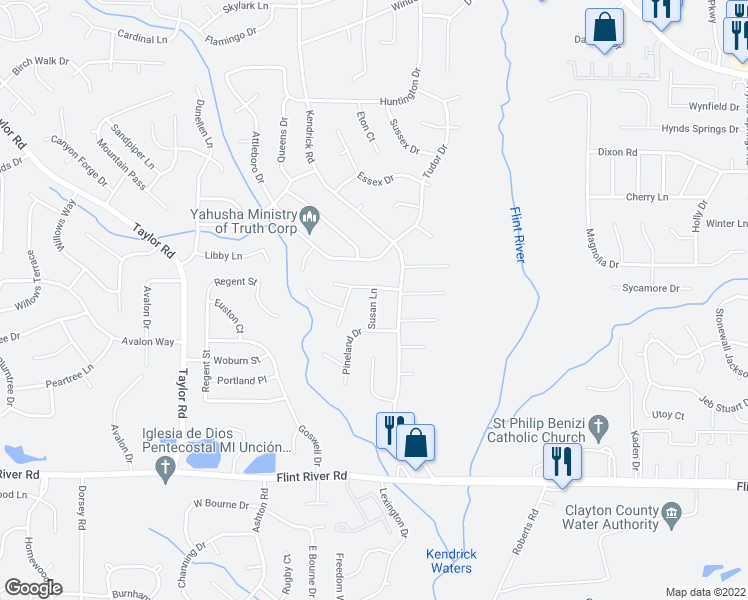 map of restaurants, bars, coffee shops, grocery stores, and more near 200-252 Matthew Ln in Jonesboro