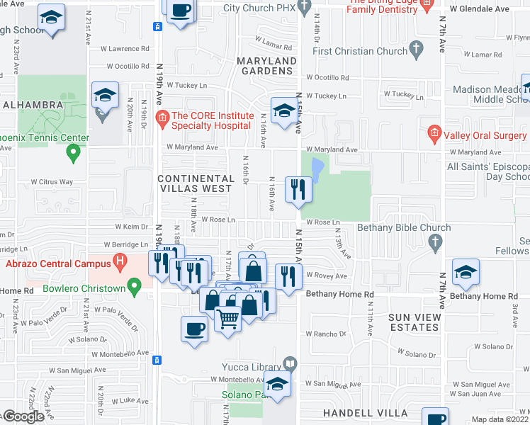 map of restaurants, bars, coffee shops, grocery stores, and more near 6210 North 16th Avenue in Phoenix
