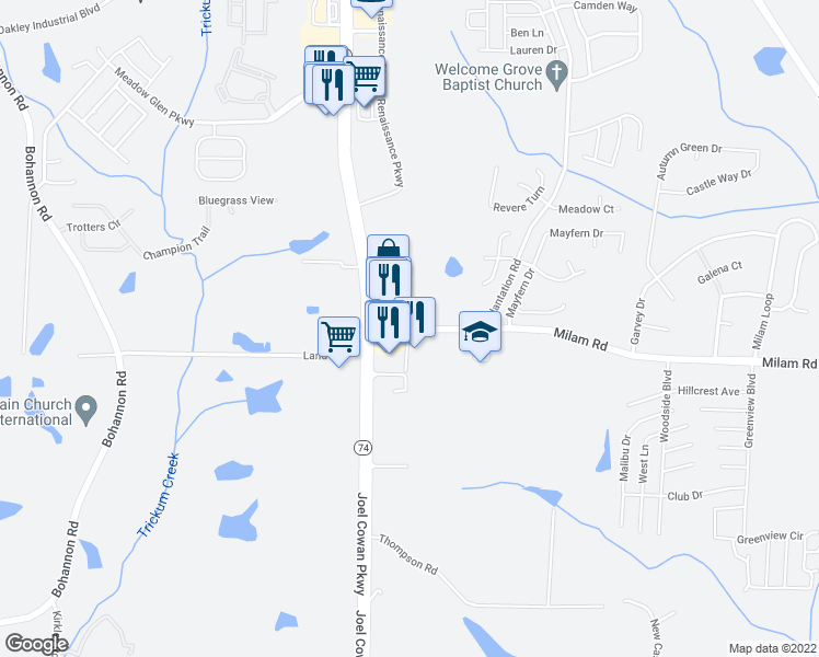 map of restaurants, bars, coffee shops, grocery stores, and more near 5645 Milam Road in Fairburn