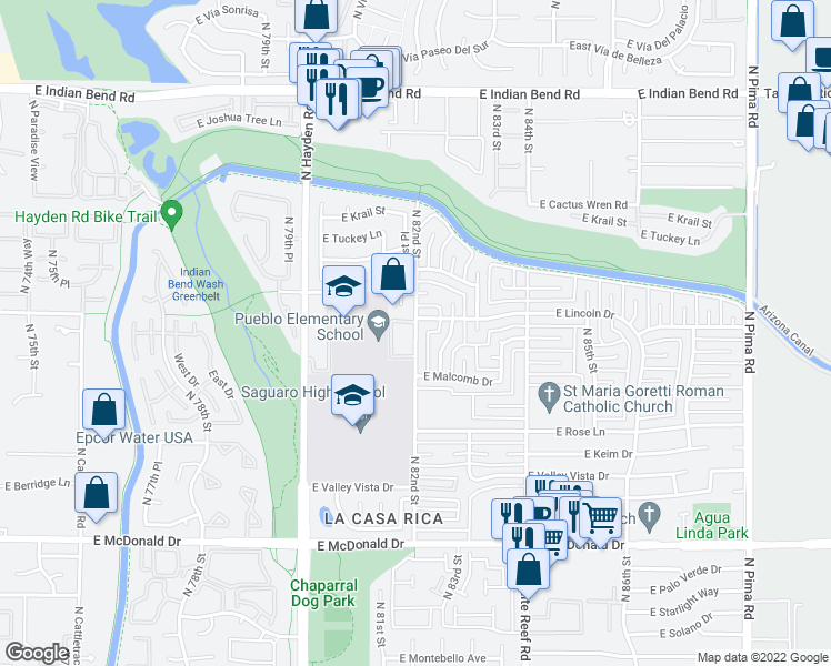 map of restaurants, bars, coffee shops, grocery stores, and more near 6483-6499 East Apartment in Scottsdale