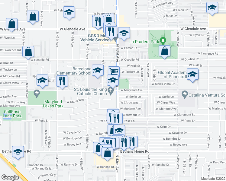 map of restaurants, bars, coffee shops, grocery stores, and more near 4301-4329 W Maryland Ave in Phoenix