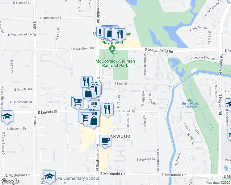 map of restaurants, bars, coffee shops, grocery stores, and more near 7321 East Tuckey Lane in Scottsdale