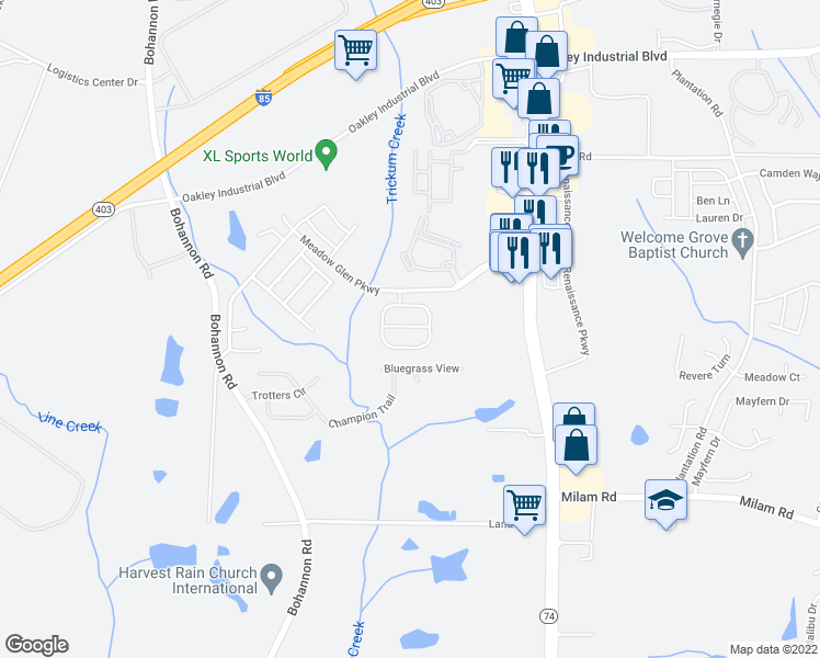map of restaurants, bars, coffee shops, grocery stores, and more near 3009 Meadow Glen Pass in Fairburn