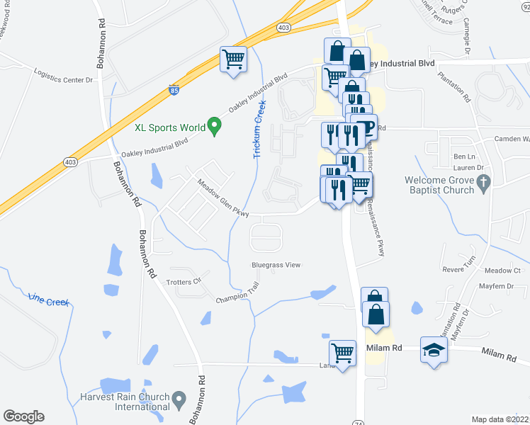 map of restaurants, bars, coffee shops, grocery stores, and more near 5057 Meadow Glen Drive in Fairburn